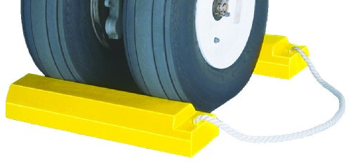 "Tigerchocks AC3515-P Urethane Lightweight Commercial Aviation Wheel Chock, Yellow, 15"" Length, 5"" Width, 3"" Height (Pair)"