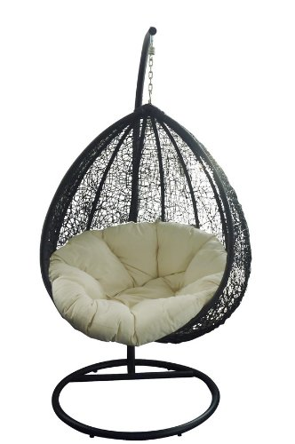 RATTAN WICKER GARDEN PATIO HANGING SWING CHAIR - DARK BROWN/CREAM