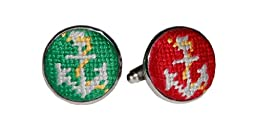 Smathers & Branson Port & Starboard Silver Plated Needlepoint Cufflinks (CL-12)