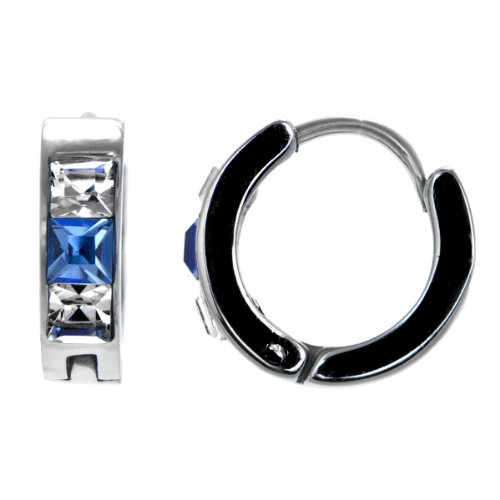 Justin's Blue and Clear Stone Hoop Earrings - 14mm