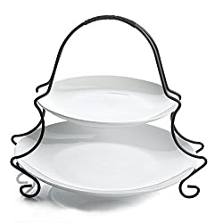 Gibson Gracious Dining 2 Tier Serving Set Ware with Metal Rack, White