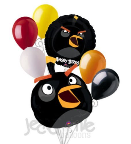 7 pc Black Bomb Angry Birds Balloon Bouquet Party Decoration Video Game Movie (Party City Utah)