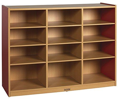 ECR4Kids Colorful Essentials 12-Compartment Multi-Purpose Storage Cabinet, Maple/Red