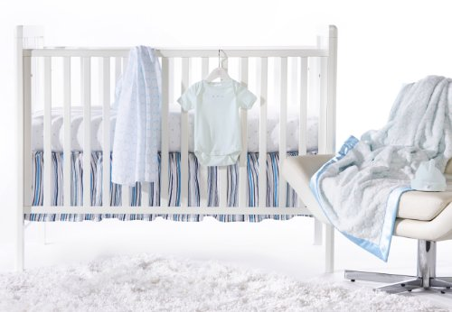 SwaddleDesigns 6 Piece Lightweight Crib Bedding Set with Crib Skirt with Luxury Adult Blanket, Pastel Blue, 0-3months