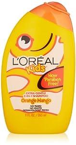 L'Oreal Kids Orange Mango Smoothie 2-in-1 Shampoo for Extra Shine, 9.0 Fluid Ounce