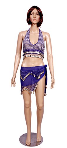 A 2pc Set of Blue Belly Dance Costume, Skirt & Halter Top Sets / Hip Scarf