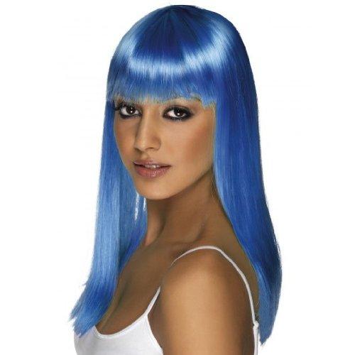 Smiffy's Glamourama Fringe Wig, Blue, One Size