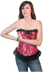 Dark Lure - Floral Print Brocade Pink Clubwear Fashion Corset Top