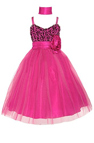 Amj Dresses Inc Girls J3333 Fuchsia Flower Girl Formal Dress Size 6