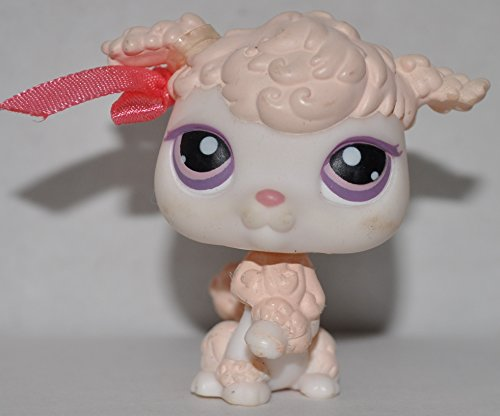 Poodle #390 (Pink, Purple Eyes) - Littlest Pet Shop (Retired) Collector Toy - LPS Collectible Replacement Single Figure - Loose (OOP Out of Package & Print) - 1