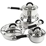 Imperial Home Stainless Steel Cookware Set - 7 Pcs Pots and Frying Pan Set with Lids (Black Handles)