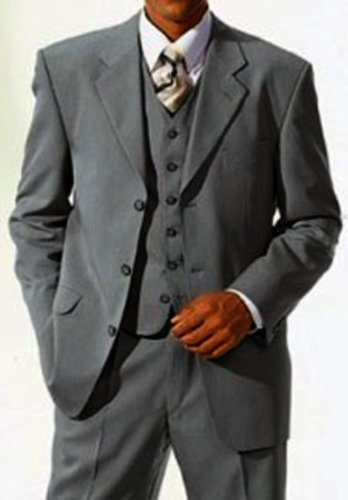 MUGA mens Suit + Waistcoat, Grey, size 40L (EU 94)