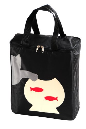 Petego United Pets Huggy Bag Italian-Designed Pet Accessory Carry Bag, Black with Cat, 12 Inches by 12 Inches by 6 Inches