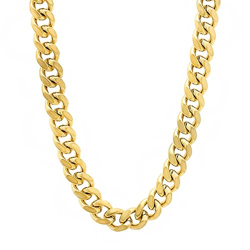 36 Inch 6Mm Men'S 14K Gold Plated Miami Cuban Link Curb Chain Necklace