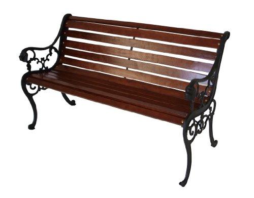 Gartenbank-2-sitzer-mit-Gusseisen-Seitenteilen-und-Holzbelattung-mahagonifarben