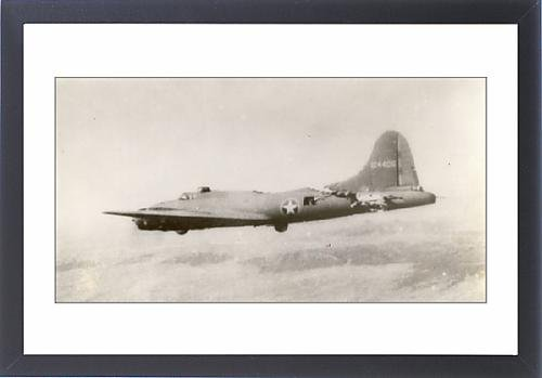 Framed Artwork of Damaged Boeing B-17F Flying Fortress,