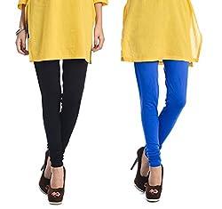 Rupa Softline Black and Blue Cotton Leggings Combo (Pack Of 2)