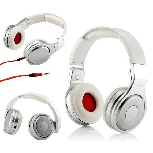Gearonic Tm Metalic Design Adjustable Circumaural Over-Ear Earphone Stero Headphone 3.5Mm For Ipod Mp3 Mp4 Pc Iphone Music - White And Silver