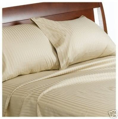 600 Thread Count Egyptian Cotton Attached Waterbed Sheet Set, King, Beige Stripe
