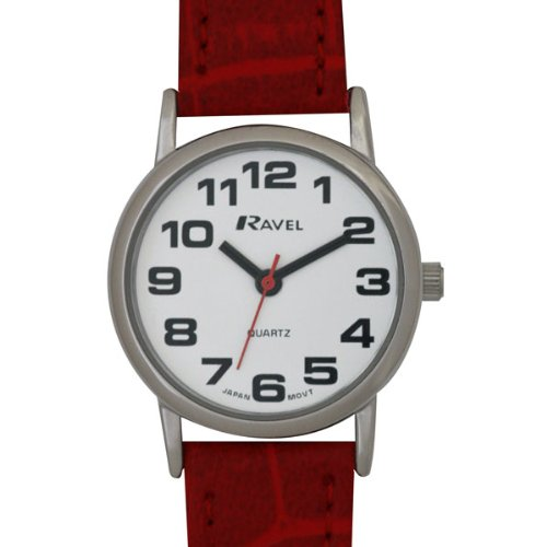 LADIES RAVEL EASY READ WHITE WATCH WITH LONG RED STRAP AND CHROME CASE(R0105.10.2)