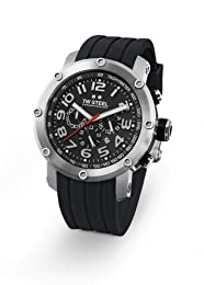 TW Steel Unisex Quartz Watch with Black Dial Chronograph Display and Black Rubber Strap TW121