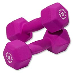 Pair of 12lb. Neoprene Dumbbells - Magenta