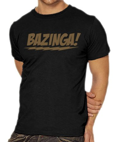 Touchlines Herren T-Shirt The Big Bang Theory - Bazinga Logo, black/gold, L, B1797-Black/Gold-L