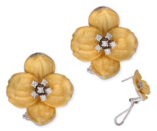 C.Z. Mate Vermeil Plated Flower Shape (.925) Sterling Silver Earrings (Nice Holiday Gift, Special Black Firday Sale)