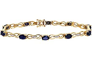 Naava 0.05 Carat Diamond with Sapphire Prong Setting Bracelet in 9ct Yellow Gold