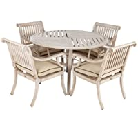 Patio Sense Aged Teak Wood Finish Aluminum Patio Dining Set from Well Traveled Living - DROP SHIP