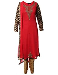Azra Jamil Indian Georgette Tomato Pink Boolean And Zardozi Hand Work Traditional Churidar Suit For Women