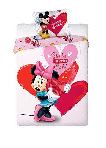 "Copripiumino 100% Cotone Singolo 160x200 Cm Federa 70x80 Cm Disney Minnie ""Kindacute"""