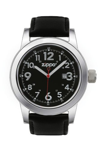 Zippo Casual Watch With Black Dial And Leather Strap, Black front-32866