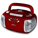 Groov-e Retro Boombox Portable CD, Cassette, Radio Player - Red GVPS813RD