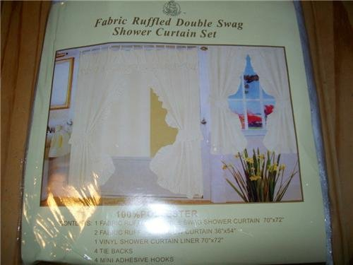 Beige Off White Double Swag Fabric Shower Curtain Set With Matching Window