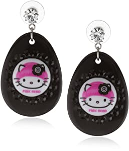 "TARINA TARANTINO Hello Kitty ""Pink Head"" Crystallized Mod Earrings"