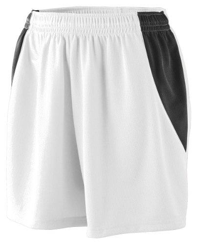 Augusta Sportswear 971 Girl'S Mesh Extreme Short White/Black/White Medium front-602282