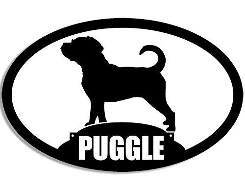 oval puggle 39 s silhouette aufkleber hund mops beagle mix rasse. Black Bedroom Furniture Sets. Home Design Ideas