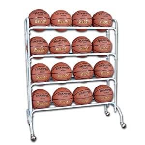 Buy Champro 16 Ball Rack with Casters, Upright (Silver, 41 x 17 x 53) by Champro