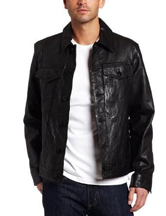 Levi's Men's Leather Classic Trucker Jacket, Black, X-Large
