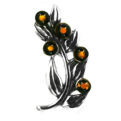 Baltic Honey Amber Sterling Silver Little Museum Collection Herb Pin 19th Century