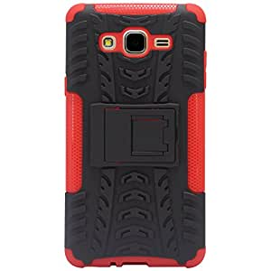 Johra Hard Armor Hybrid Bumper Kick Stand Back Case Cover For Samsung Galaxy On7 Pro - Red
