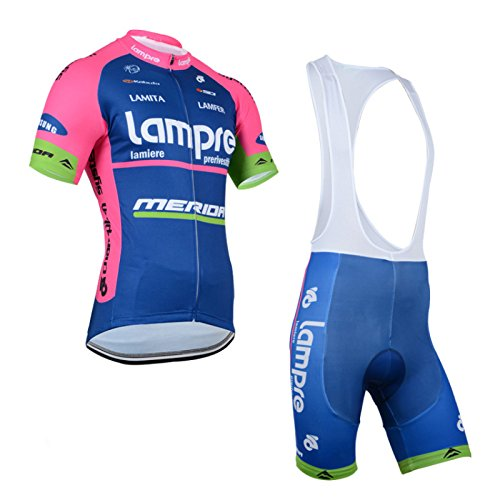 2014 Outdoor Sports Pro Team Men's Short Sleeve Lampre Cycling Jersey and Bib Shorts Set Blue (Cycling Clothes Hincapie compare prices)