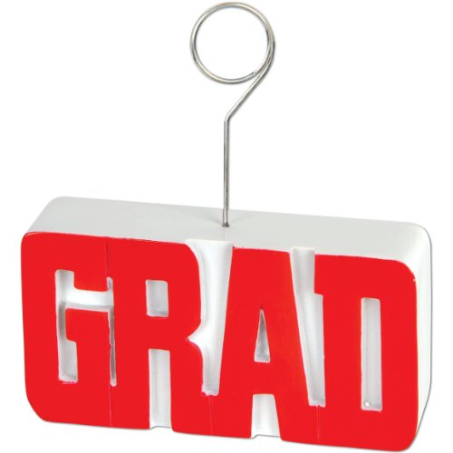 GRAD Photo/Balloon Holder (red) Party Accessory  (1 count)