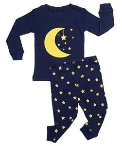 "Leveret ""Moon & Stars"" 2 Piece Pajama 100% Cotton (Size 6M-5T)"
