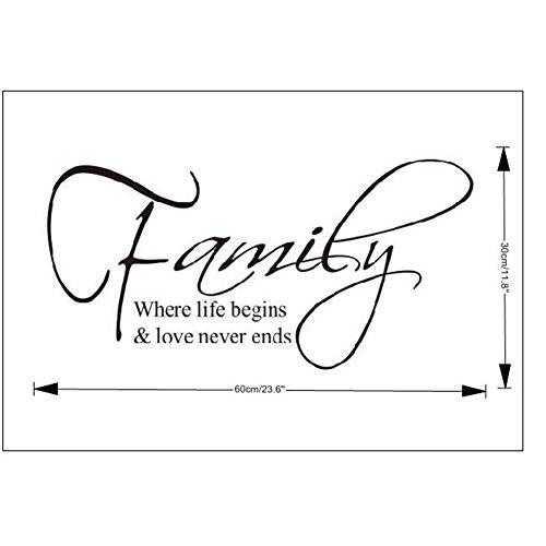 zgy family where life begins zitate spruch wandtattoo wandaufkleber schwarz wandsticker. Black Bedroom Furniture Sets. Home Design Ideas