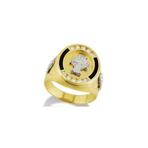 Mens 14k Solid Yellow White Gold Cross Black Onyx Ring