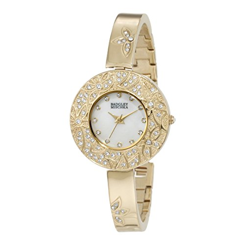 badgley-mischka-womens-ba1094mpgb-swarovski-crystal-accented-gold-tone-flower-theme-bangle-watch