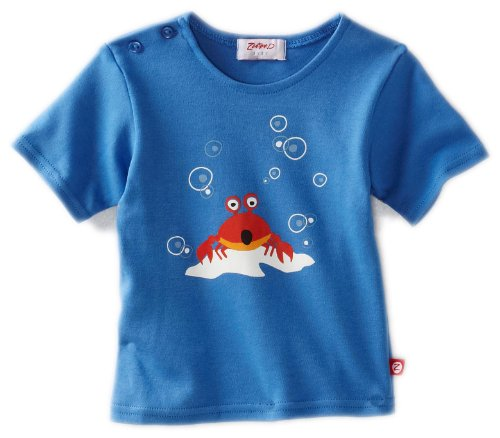 Zutano Baby-boys Infant Short Sleeve Crab Screen T-Shirt, Periwinkle, 6 Months