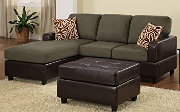 3pc Sectional Sofa Set with Reversible Chaise and Ottoman in Sage